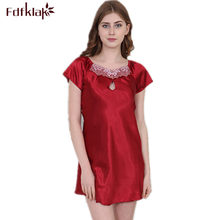 Sexy Night Clothes Satin Nightgowns Summer Short Sleeve Faux Silk Nightdress Satin Night Dress 7 Styles Plus Size S-4XL E1040(China)