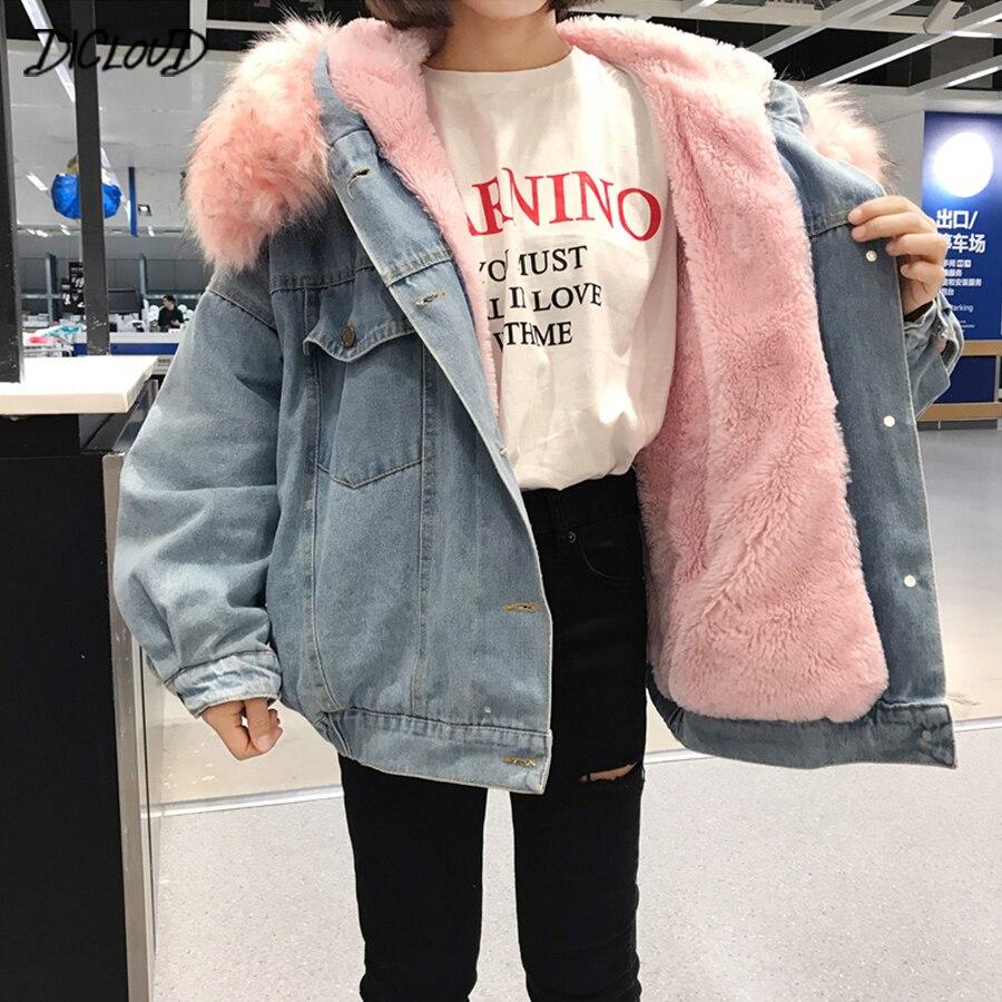 Зимостойкие теплые джинсовые штаны для маленьких девочек; пальто; куртки Женский меховой оторочкой капюшона и хлопчатобумажной подкладкой повседневные куртки Для женщин Harajuku больших размеров Свободная верхняя одежда