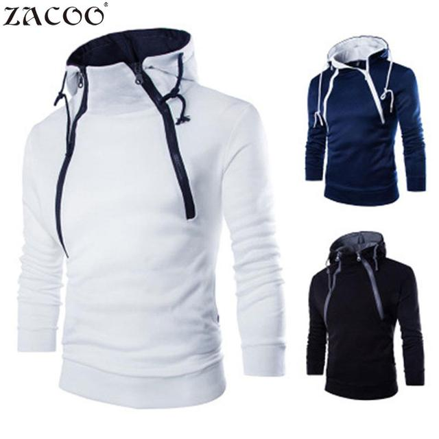 ZACOO Men s fashion T shirts Hooded Tops Casual Long Sleeve Double Zipper Hooded Tees Simple Solid Color Hooded Tops san0