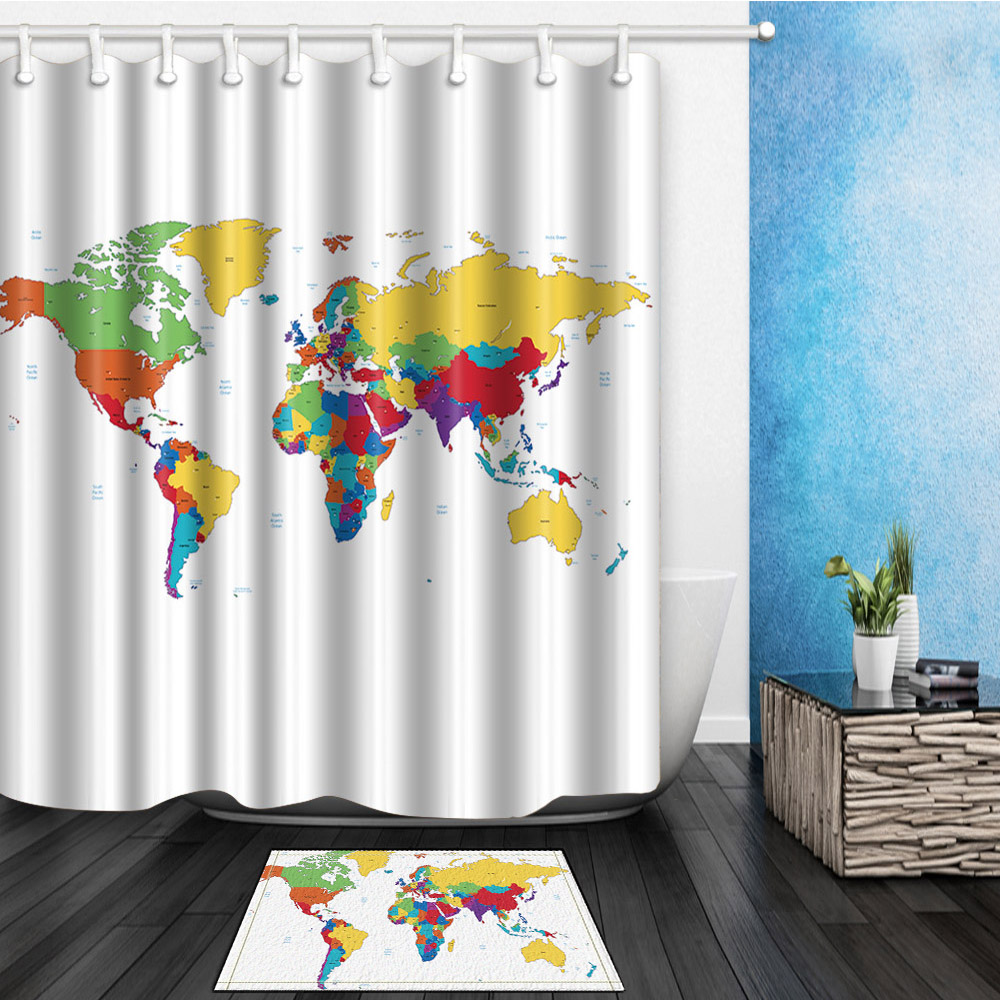 US $11.39 20% OFF|World Map customize White Curtains Waterproof Polyester  Fabric Shower Curtain For The Bath Decoration With 12pcs Hooks-in Shower ...