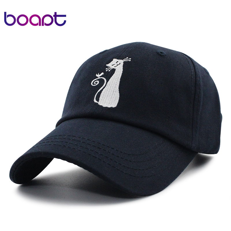 [boapt] cat embroidery pattern women baseball cap cotton female hat summer dad hats for men snapback casual brand male sun caps fashion cotton baseball cap women vintage anchor snapback hat for men casual patch dad cap summer trucker hat casquette bones
