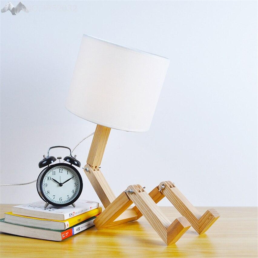 Nordic Moderne Creatieve Persoonlijkheid Hout Tafellamp Robot Klaptafel Licht Voor Kids Studie Slaapkamer Bed Verlichting Decoratie