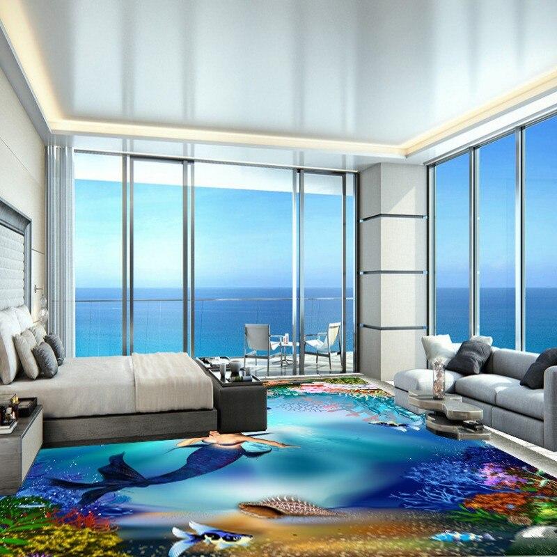 Free Shipping 3D Underwater Dream World Mermaid Floor Painting Office Bedroom Living Room Non Slip