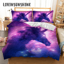 LOVINSUNSHINE Bed Set Bedding King Size Star Unicorn Pattern Bedding Set Duvet Cover Comforter AB#59 two tone solid pattern bedding set