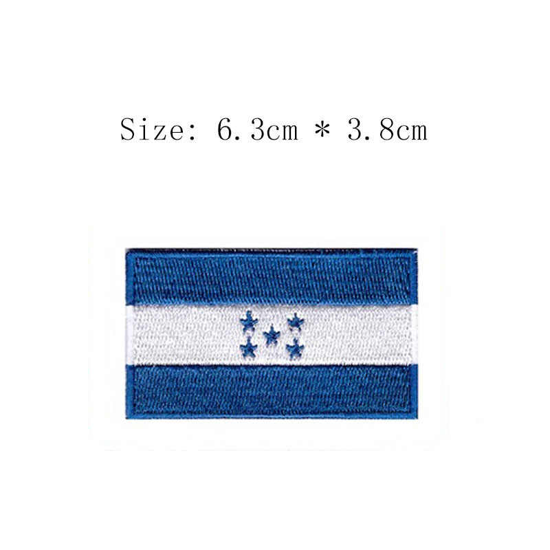 "Honduras 2.5"" wide embroidery flag patch Wholesale free shipping iron sew on caps left chestsun patch blue 5 stars Tegucigalpa"