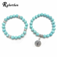 Ruberthen Tree of Life jewelry Yoga Mala Bracelet Stone Healing Protection Elastic Beaded Stacking Bracelet Spiritual jewelry 3