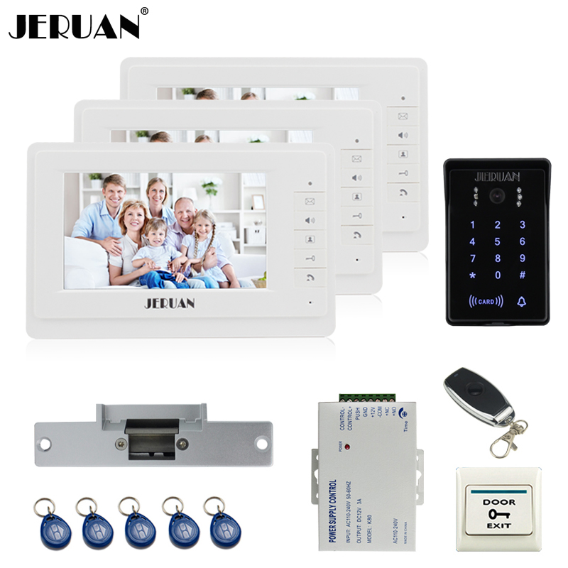 JERUAN 7`` video doorphone intercom system Kit 3 monitor brand new RFID waterproof Touch Key password keypad Camera Cathode lock jeruan 8 inch tft video door phone record intercom system new rfid waterproof touch key password keypad camera 8g sd card e lock
