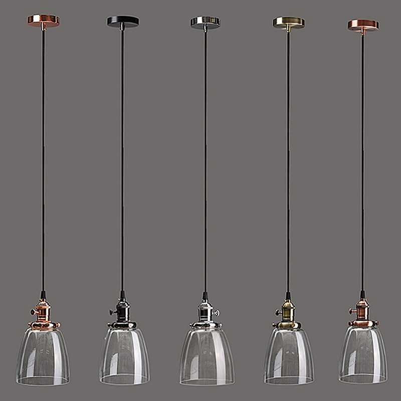 Retro Vintage Chandelier Lamp Shade E27 Industrial Lamp Cover 2M Cord Coffee Bar Glass Cover Ceiling Pendant Light Fixture