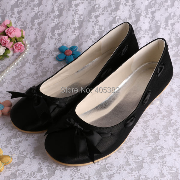 13 Colorscustom Handmade Extra Wide Width Black Fabric Flat Shoes