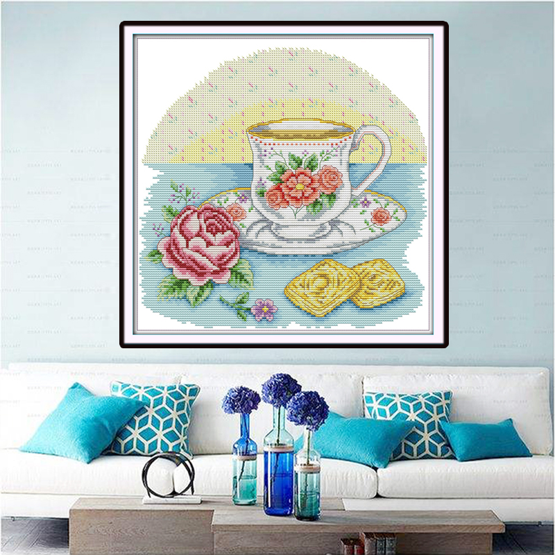 Joy Sunday,Afternoon tea time,Chinese cross stitch embroidery set,printing cloth embroidery kit,cross stitch pattern,cross stitch (2)