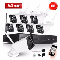New Listing Plug And Play 8CH Wifi Wireless NVR Kit P2P 960P HD Outdoor IR