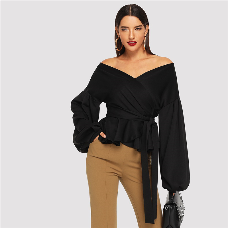 SHEIN White Office Lady Elegant Lantern Sleeve Surplice Peplum Off the Shoulder Solid Blouse Autumn Sexy Women Tops And Blouses 16
