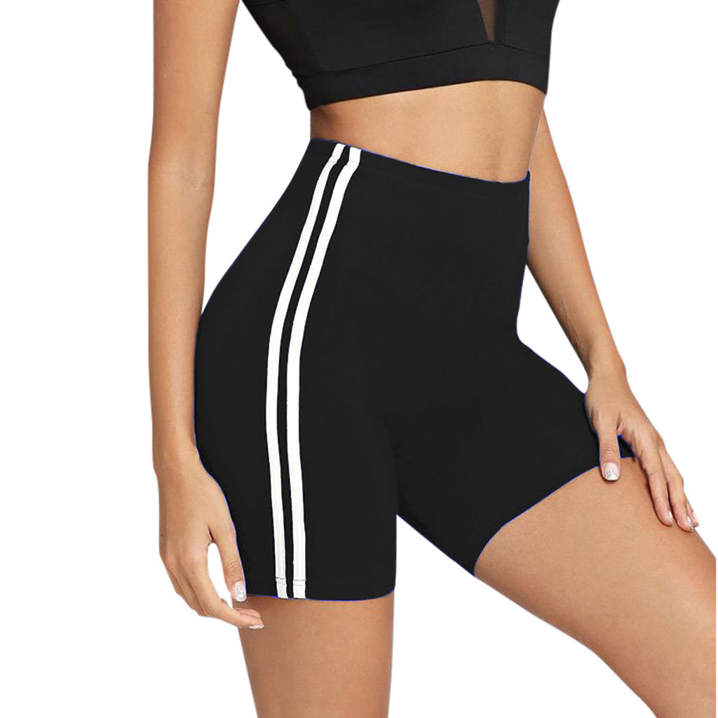 Hot Ladies Shorts 2019 Women's Summer Feminino Praia High Waist Stripe Fitness Short Pants Hips Tight Shorts Spodenki Damskie(China)