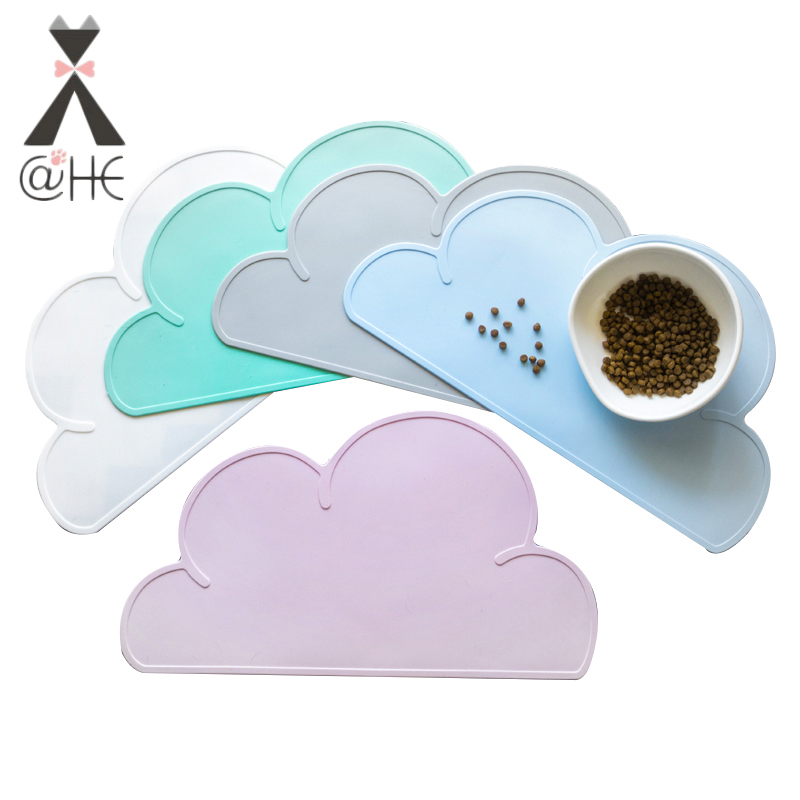 @HE Cute Silicone Cloud Pet Feeding Mat  Waterproof Dog Cat Food Pad Mats Dogs Cats Feeder Dish  Placemat  Pets Feeding Cleaning