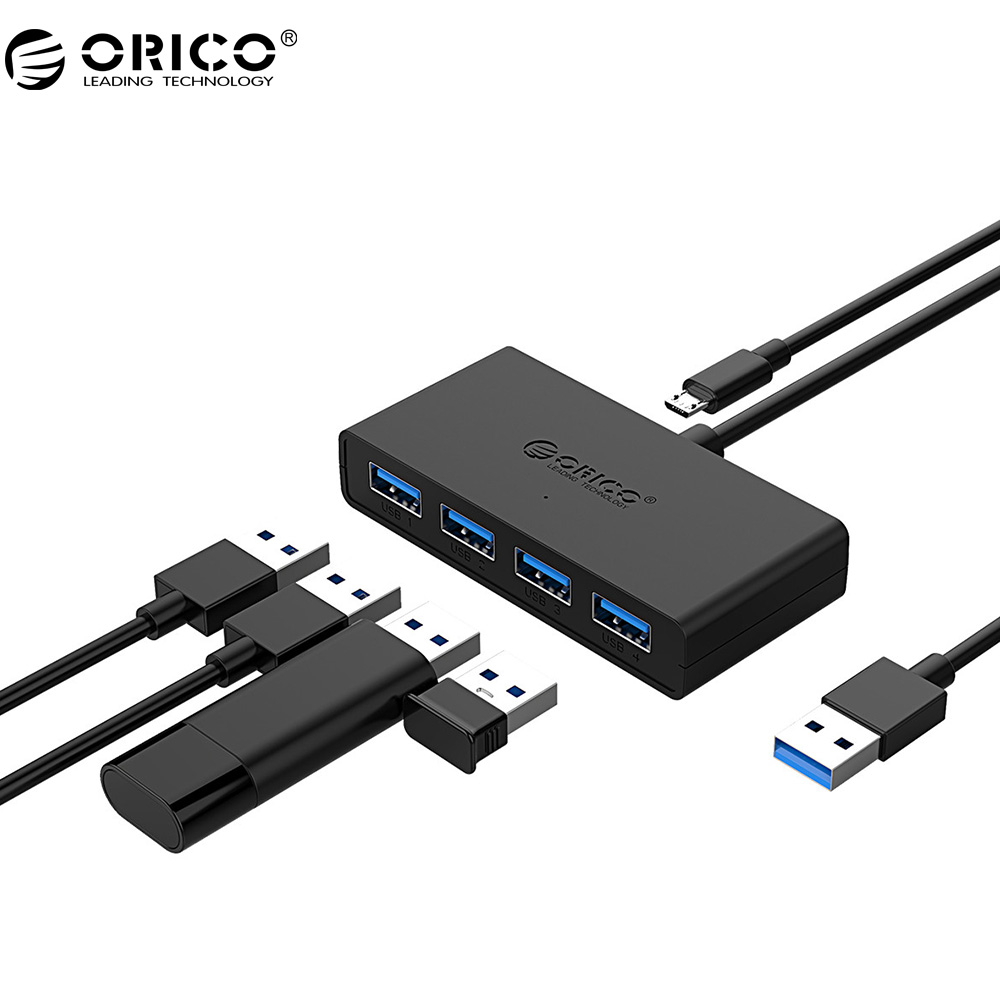 ORICO Mini USB 3.0 HUB 4 Port Power Supply OTG with Micro USB Power Interface for MacBook Laptop Tablet Computer OTG USB HUB