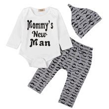 3Pcs/Set New Autumn Casual Deer Romper + Pants + Hat 100% Cotton White Letter Printing Baby Girl Boy Clothes For Newborns(China)