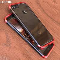 For Xiaomi Mi A1 Case Cover Luxury Metal Aluminum Transparent Glass Hybrid Armor Phone Case For