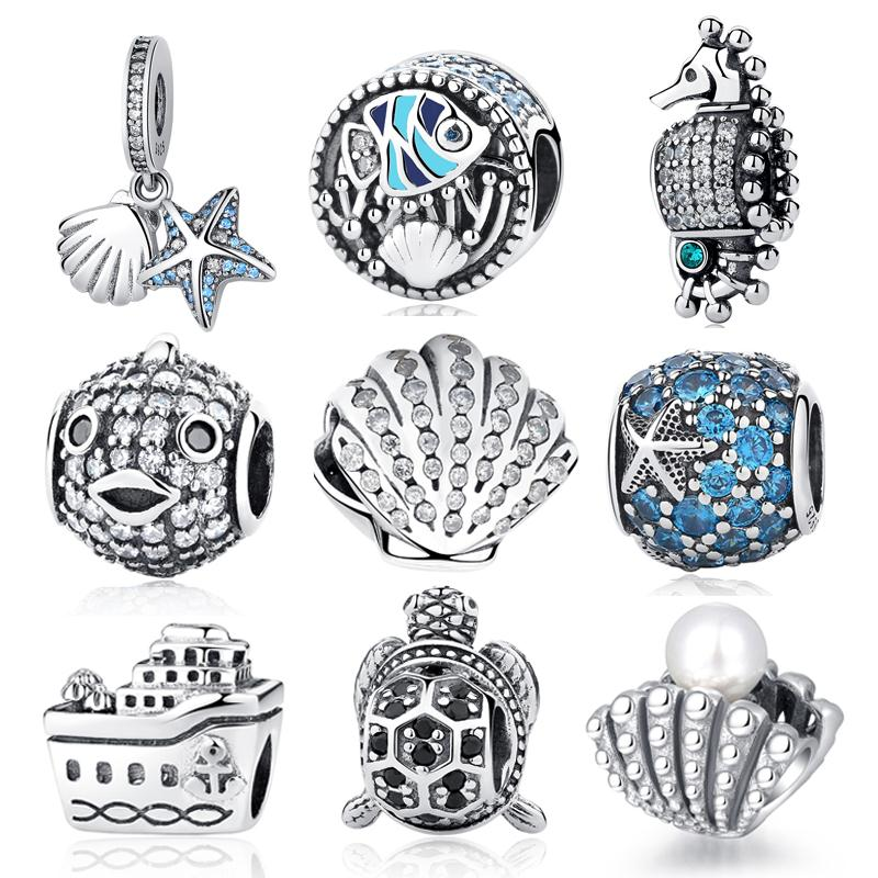 Authentic 925 Sterling Sliver Beads Cute Sea Fish Starfish Turtle Hippocampus Crystal Fit Original Pandora Bracelets DIY Charms