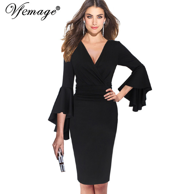 2a0722ad61769 Vfemage Women Sexy Deep V-neck Flare Bell Sleeve Ruched Elegant Work  Business Cocktail Party