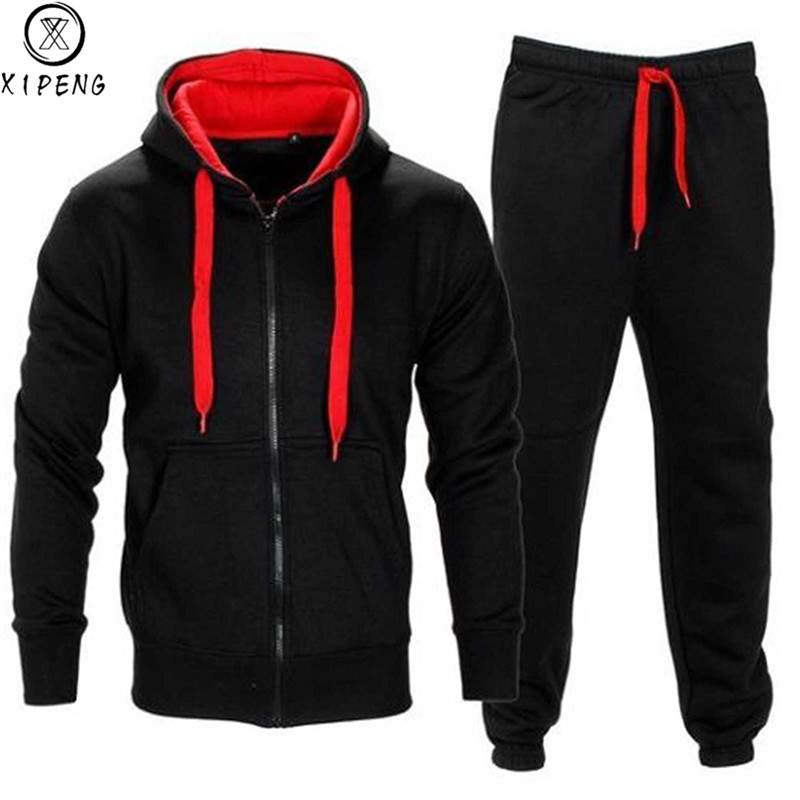 Tracksuit Men 2019 Autumn Men Sportwear Set Fashion Mens Set 2PCS Zipper Hooded Sweatshirt Jacket+Pant Moleton Masculino Sets