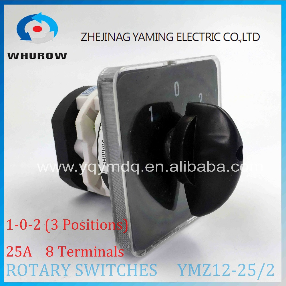 Rotary switch knob 3 position YMZ12-25/2 universal combination manual electrical changeover cam switch 25A 2 poles load circuit breaker switch ac ui 660v ith 100a on off 3 poles 3 phases 3no 2 position universal rotary cam changeover switch