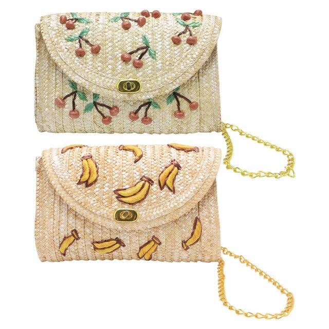 Thinkthendo банан Вишневый соломенная сумка через плечо клатч закрылков цепь сумка Пляжная роскошные сумки женские сумки дизайнер