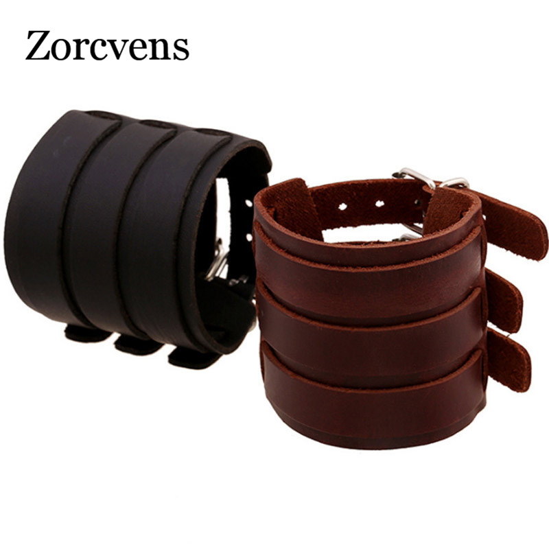 ZORCVENS 2020 Hot selling Fashion Punk Rivet Wide Leather Bracelets Men For Women Cuff Vintage Rock Jewelry