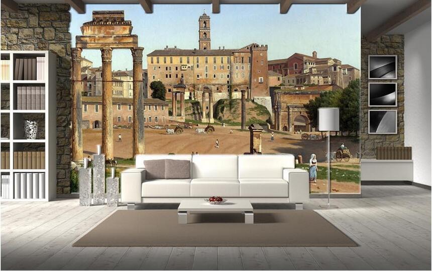 Carta Da Parati 3d Roma.3d Wallpaper Murale Personalizzato Non Tessuto Foto Wall Sticker 3