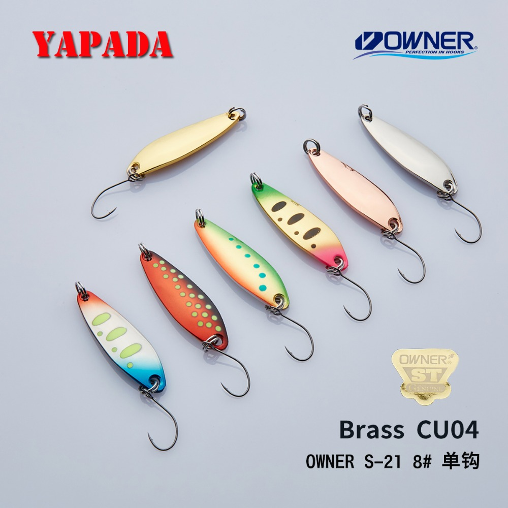 YAPADA Brass spoon CU04 2.8g/3.6g/4.7g 36X10mm OWNER Single Hook Multicolor Metal Spoon stream Fishing Lures Trout image