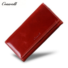 hot deal buy 2018 new women oil wax leather wallet female purses big capacity hasp zipper purse ladies long wristlet clutch coin card holders