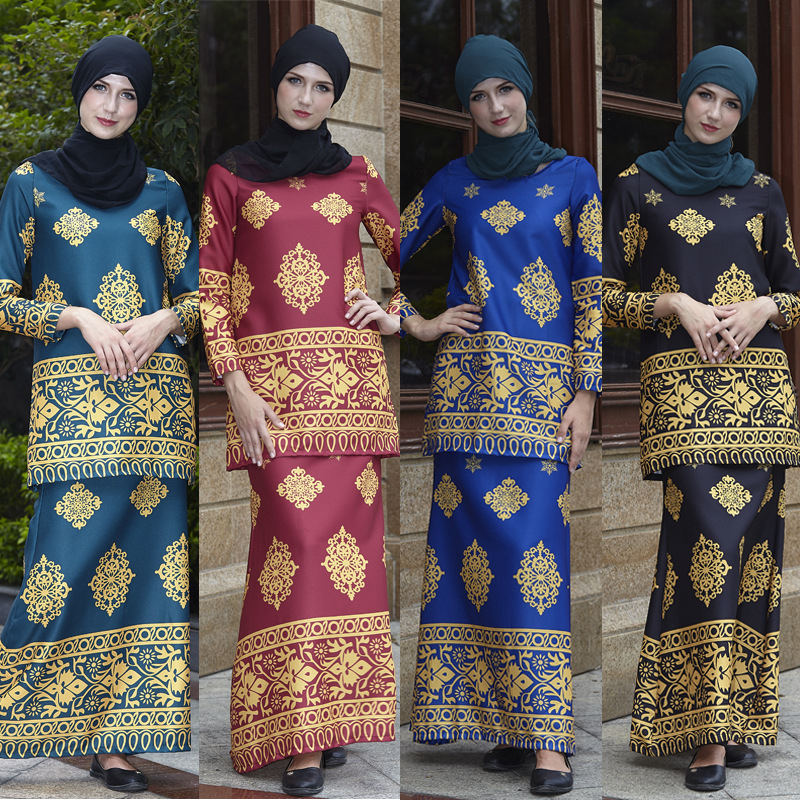 Elegant Muslim Costumes Silky Traditional Islamic Clothing Malaysia Suit Eid Mubarak Abaya Gown Women Dress Free Shipping