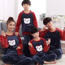 34abebe63f284 Family Matching Christmas Pajamas Couples Matching Clothing Autumn Winter  Mom and Daughter Clothes Coral Fleece Flannel Pajamas