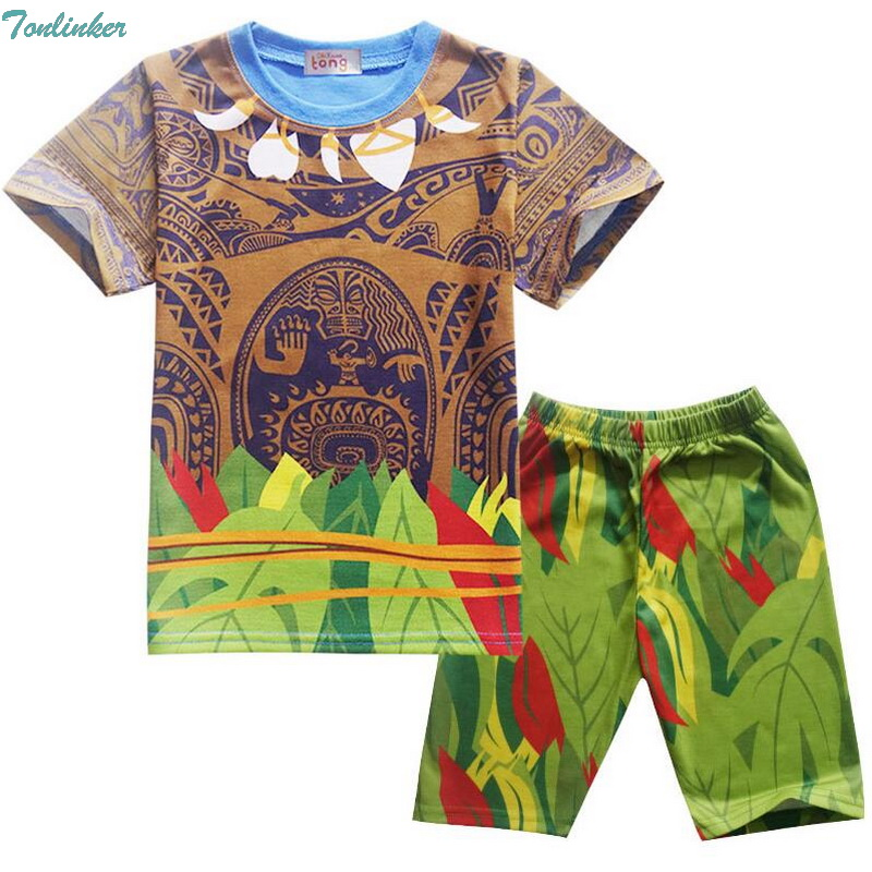 Tonlinker Cartoon Moana Maui Clothes Boys Clothing Summer Costume Kids Sport Suits Children T Shirt Set