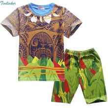 Tonlinker Cartoon Moana Maui Clothes Boys Clothing Summer Costume Kids Sport Suits Children T Shirt Set
