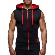 Summer Gym Men Muscle Sleeveless Zipper Pure Color Sport Hooded Vest Plus Size Sleeveless Fitness Bodybuilding Workout Vest