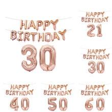 Fudanl 15 pçs 16 polegada rosa ouro número letra balões festa de aniversário balões 18 21 30 40 50 60th adulto festa de aniversário decoração