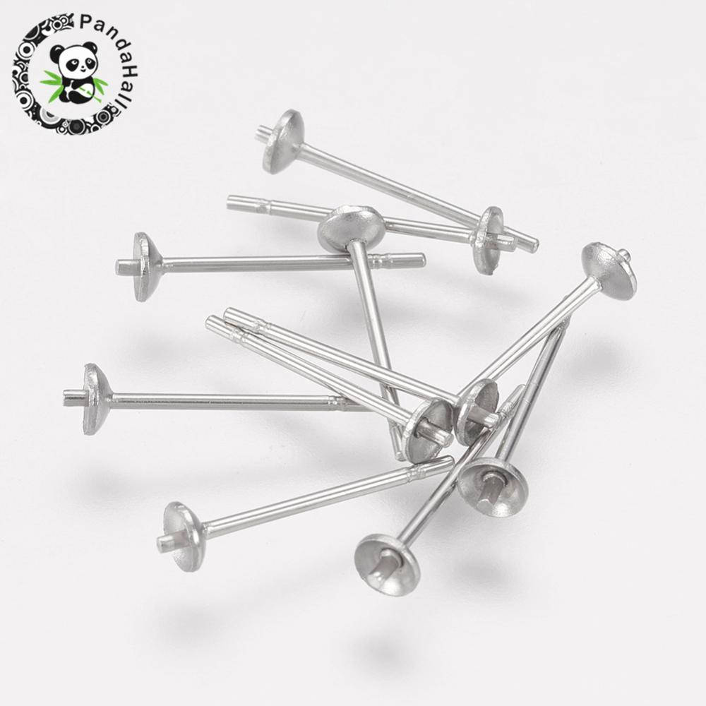 304 Stainless Steel Earstud Components, Size: about 0.7~3mm in diameter, 12.2mm long