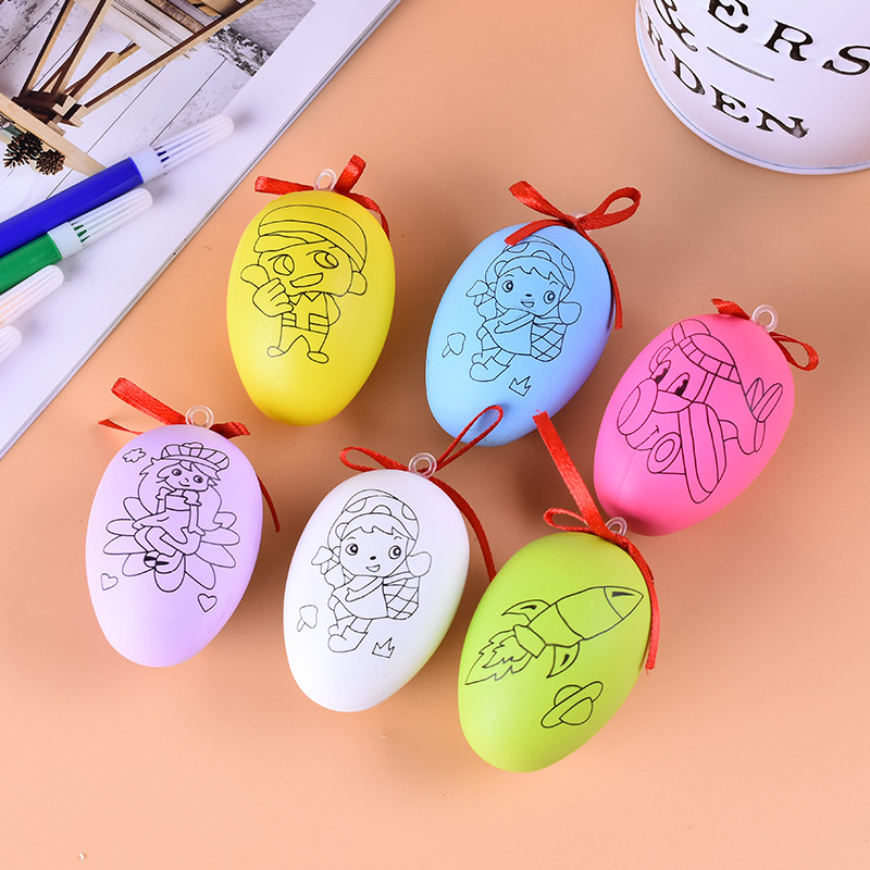 Creative Toy For Children Handmade DIY Easter Egg Cartoon Painted Eggshell Toys Educational Craft Toys Funny Easter Party Supply
