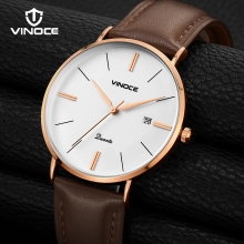 VINOCE Luxury Quartz Watches Mens Genuine Leather Strap Wrist Watch Waterproof Relogio Masculino 2019 New Mens Clock #V9641