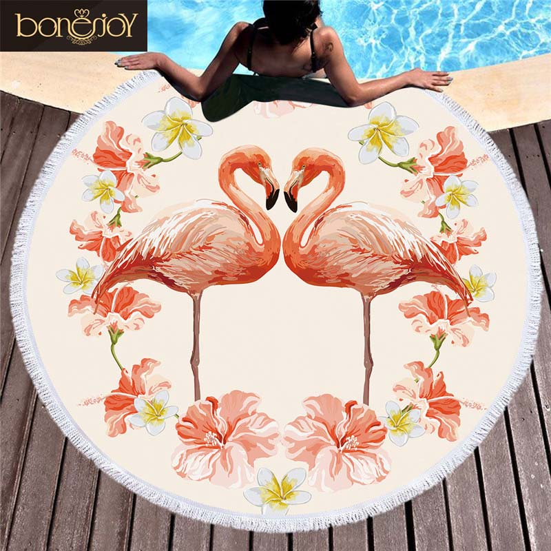 Bonenjoy Colorful Beach Towel Flamingo Pink Printed Round Tassel Yoga Mat Tapestry Toalla Blanket Bath Beach Towel For Adult