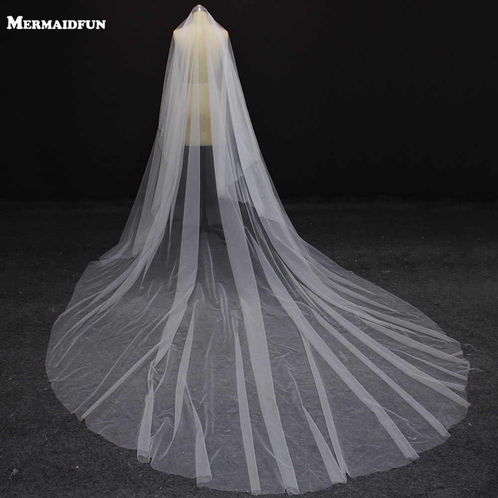 2019 Real Photos New One Layer 4 Meters Long Plain Tulle Wedding Veil WITHOUT Comb Beautiful White Ivory Bridal Veil