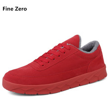Fine Zero Men Big size 46 Winter Warm Fur plush young student Casual Flats Shoes Male Lace up sneaker Zapatilla Chaussure Homme