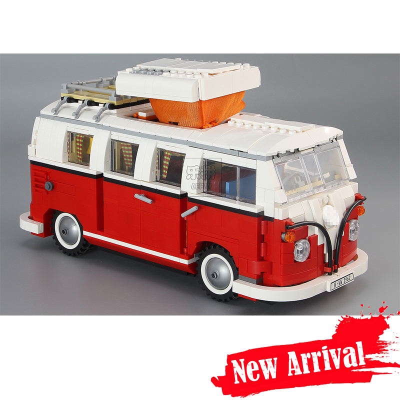 LEPIN 21001 1354Pcs Technic Series T1 Camper Van Model Building Kits Set Bricks Toys Compatible 10220 Creator INGLY telecool led light building blocks toy only light set for creator series the t1 camper van model lepin 21001 and brand 10220