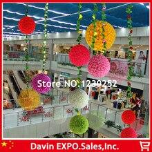 2pcs 40cm Hanging Decorative Flower Ball Centerpieces Silk Rose Wedding Kissing Balls Pomanders Mint Wedding Decoration