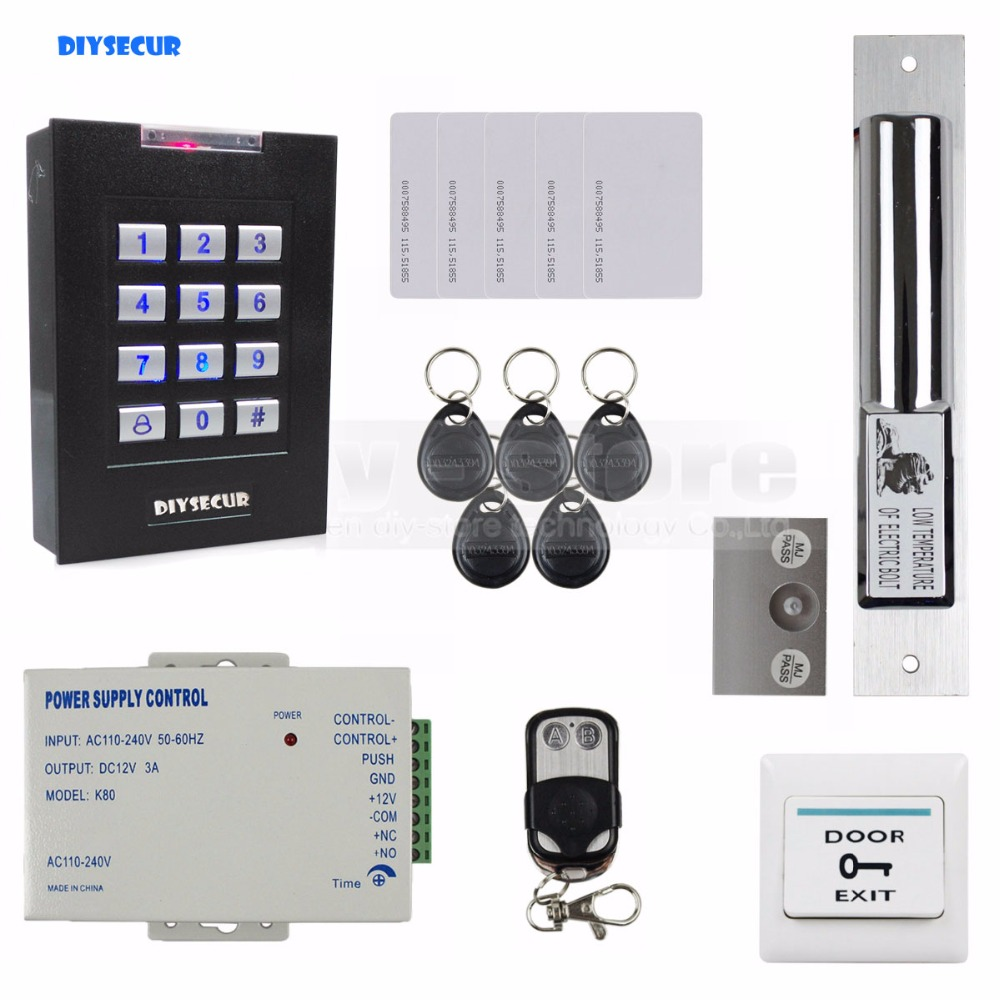 DIYSECUR 125KHz RFID Keypad Door Lock Access Control System Kit + Drop Bolt Lock For House / Office diysecur rfid keypad door access control security system kit electronic door lock for home office b100