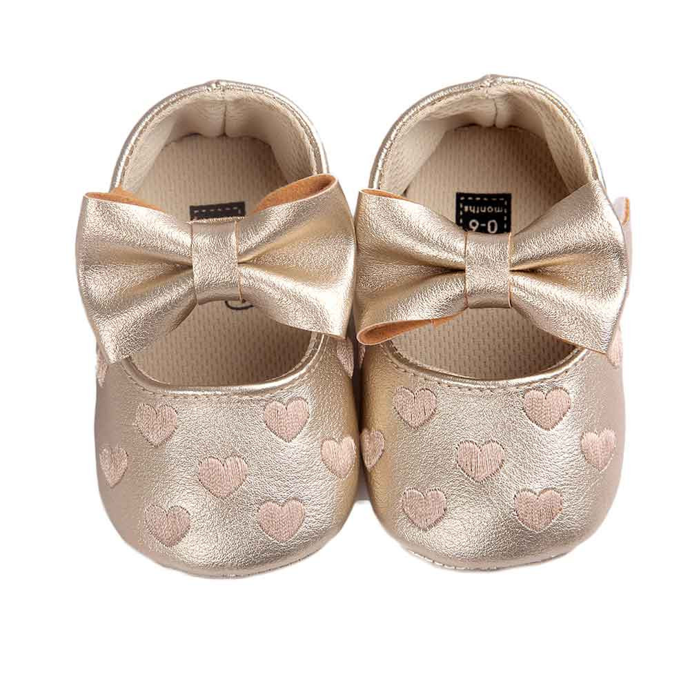 ROMIRUS PU Leather Baby Girl Bowknot Leater Shoes Sneaker Anti-slip Soft Sole Toddler Moccasins Footwear