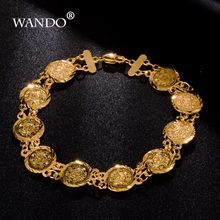 wando Dubai/Ethiopian/African women gift jewelry romantic Heart bracelet jewelry Gold Color Wholesale b8(China)