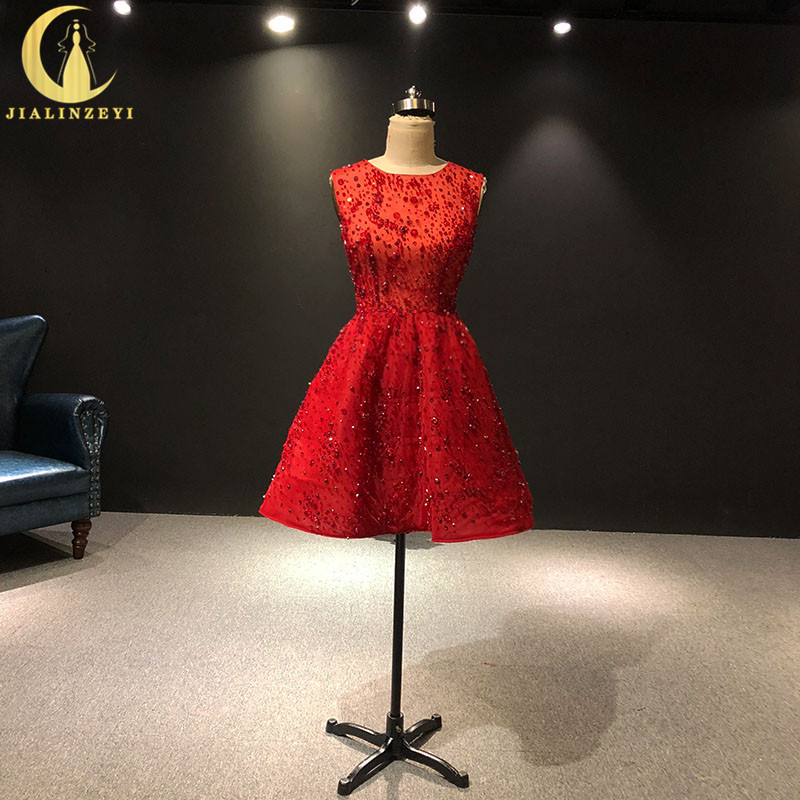 JIALINZEYI Real Picture Luxurious Red Crystal Beads Luxurious Knee Length Prom Dresses Party Dresses 2019