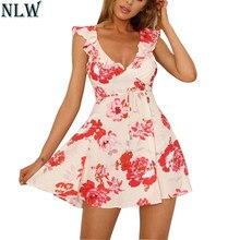 89a90effc NLW Ruffles V cuello Mini vestido de impresión Floral 2018 verano mujeres  Sexy Boho Short Beach Dress Backless mariposa alta cin.