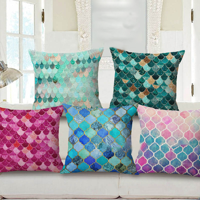 Decorative Pillows Fish Scale Peach Skin Pillow Case Fabric Printing Beauteous Fabric For Decorative Pillows